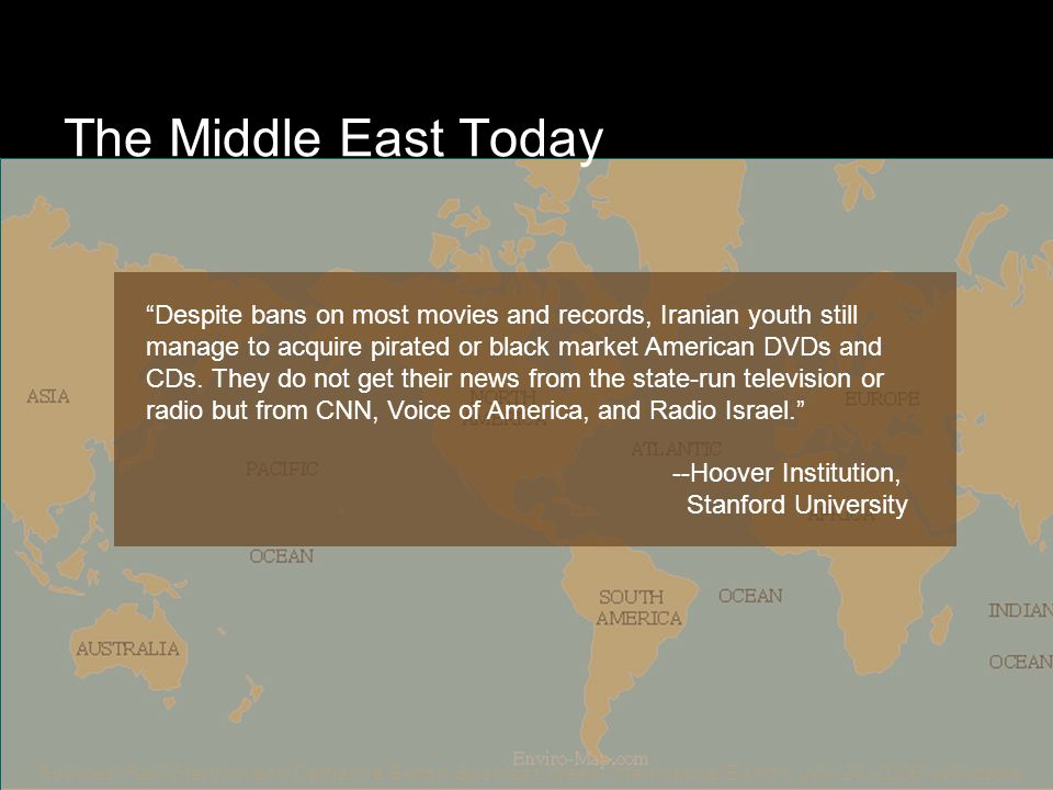 The Middle East Today Sources: Paul Starobin and Catherine Belton, Business Week, International Edition, July 24, 2000; Wikipedia.