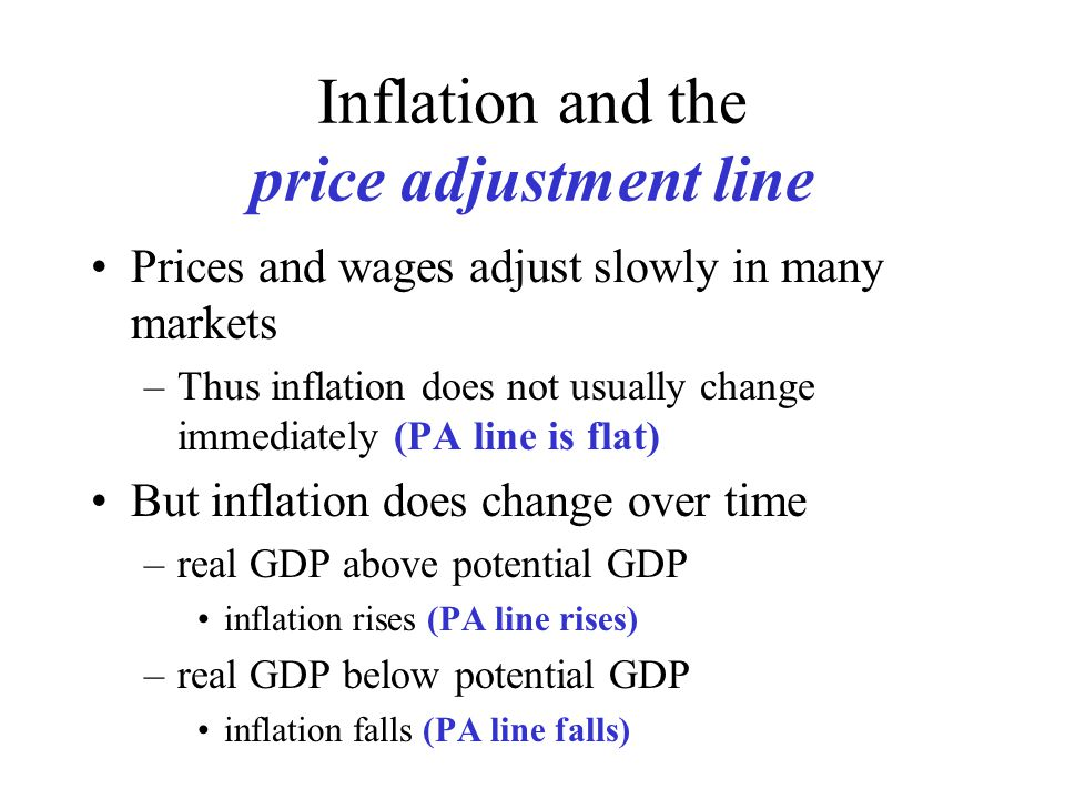 Inflation and the price adjustment line Prices and wages adjust slowly in many markets –Thus inflation does not usually change immediately (PA line is flat) But inflation does change over time –real GDP above potential GDP inflation rises (PA line rises) –real GDP below potential GDP inflation falls (PA line falls)