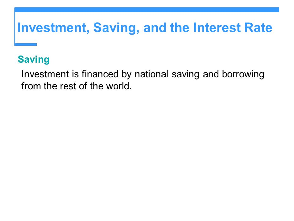 Investment, Saving, and the Interest Rate Saving Investment is financed by national saving and borrowing from the rest of the world.