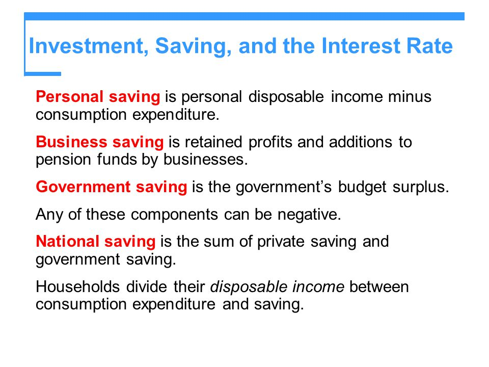 Investment, Saving, and the Interest Rate Personal saving is personal disposable income minus consumption expenditure. Business saving is retained pro