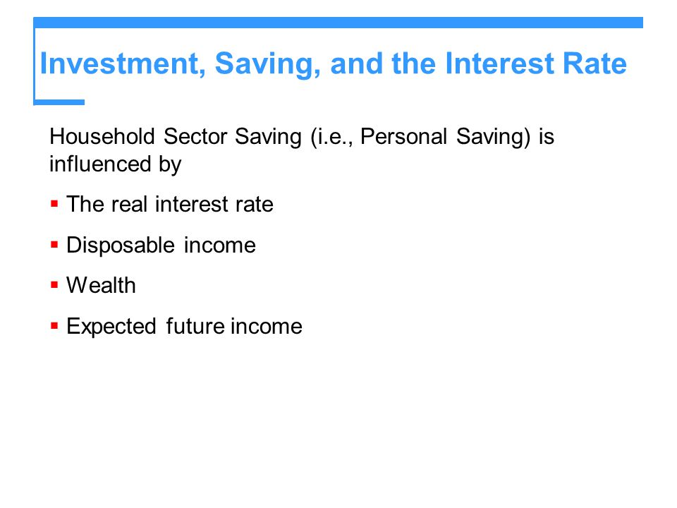 Investment, Saving, and the Interest Rate Household Sector Saving (i.e., Personal Saving) is influenced by  The real interest rate  Disposable incom