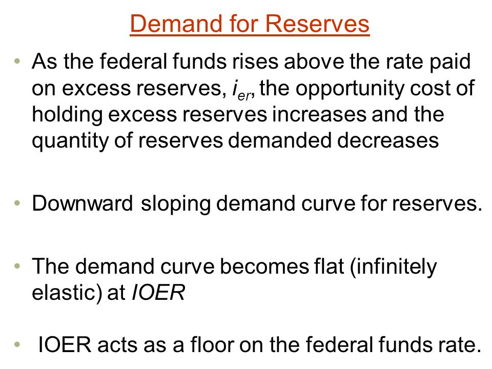 Demand for Reserves As the federal funds rises above the rate paid on excess reserves, i er, the opportunity cost of holding excess reserves increases and the quantity of reserves demanded decreases Downward sloping demand curve for reserves.