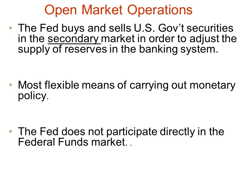 Open Market Operations The Fed buys and sells U.S.