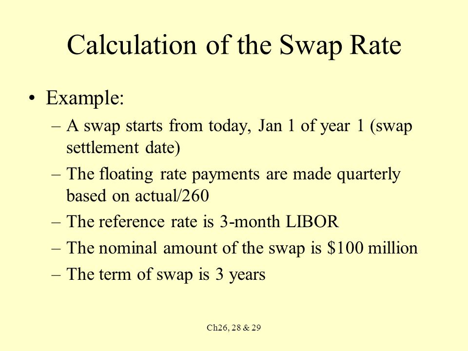 Ch26, 28 & 29 Calculation of the Swap Rate Example: –A swap starts from today, Jan 1 of year 1 (swap settlement date) –The floating rate payments are made quarterly based on actual/260 –The reference rate is 3-month LIBOR –The nominal amount of the swap is $100 million –The term of swap is 3 years