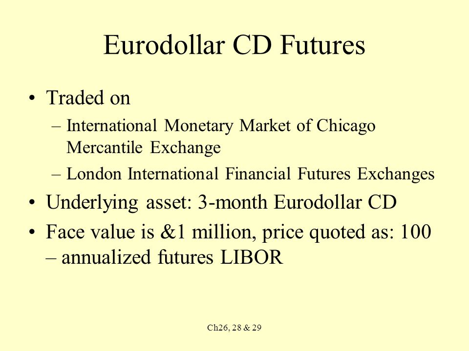 Ch26, 28 & 29 Allocating Funds between Stocks and Bonds An alternative way to reallocate assets is to buy and sell interest rate futures and stock index futures Benefits –Transaction costs are lower –Market impact costs are avoided –Activities of the money managers employed by the pension sponsor are not disrupted