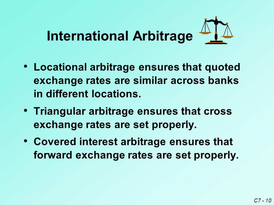 C7 - 10 Locational arbitrage ensures that quoted exchange rates are similar across banks in different locations.