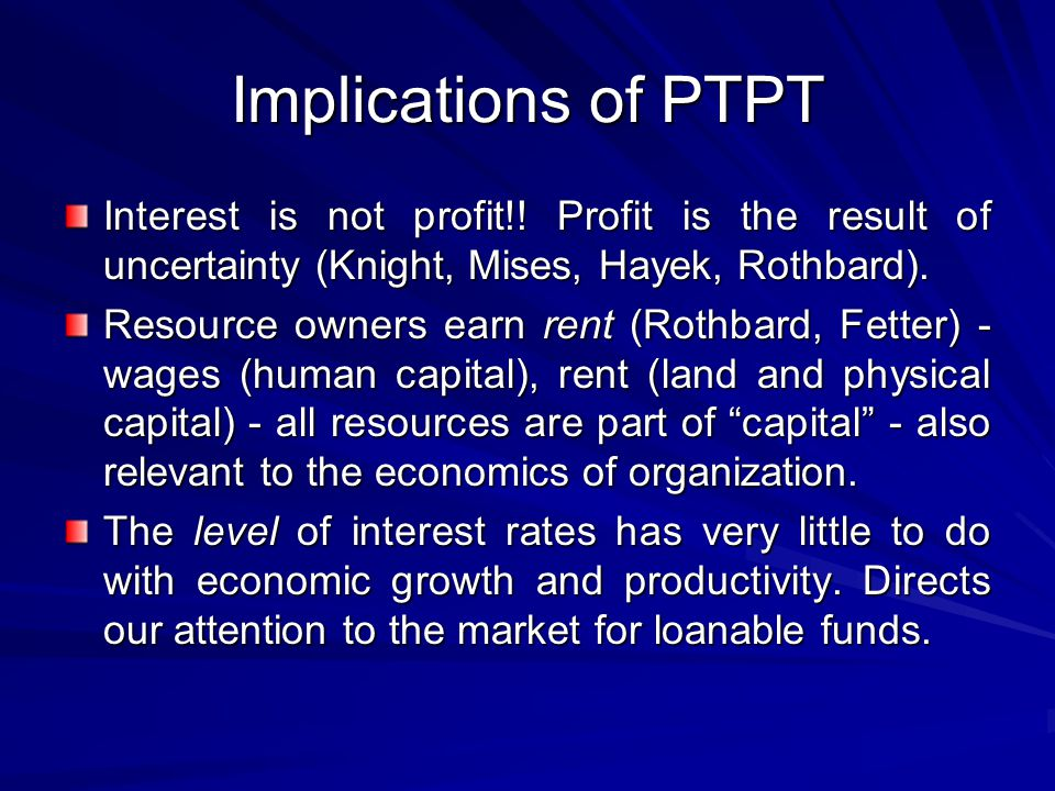 Implications of PTPT Interest is not profit!.