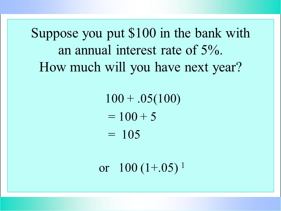 Suppose you put $100 in the bank with an annual interest rate of 5%.
