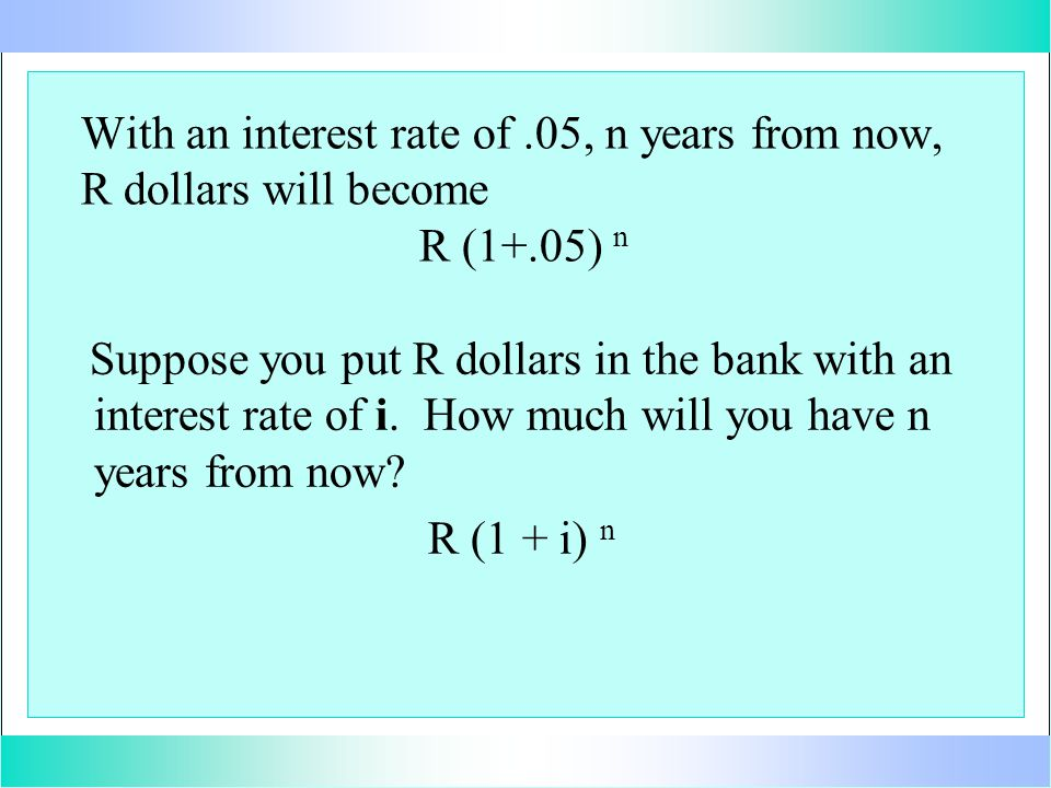 With an interest rate of.05, n years from now, R dollars will become R (1+.05) n Suppose you put R dollars in the bank with an interest rate of i. How