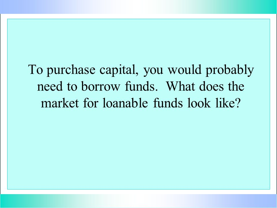 To purchase capital, you would probably need to borrow funds. What does the market for loanable funds look like?
