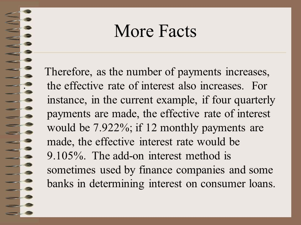 Therefore, as the number of payments increases, the effective rate of interest also increases.
