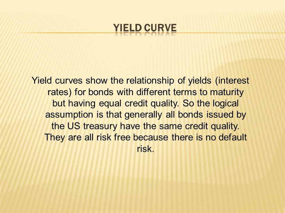 Yield curves show the relationship of yields (interest rates) for bonds with different terms to maturity but having equal credit quality.