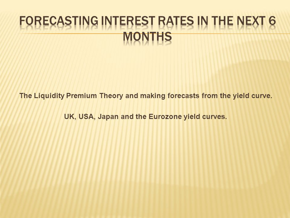 The Liquidity Premium Theory and making forecasts from the yield curve.