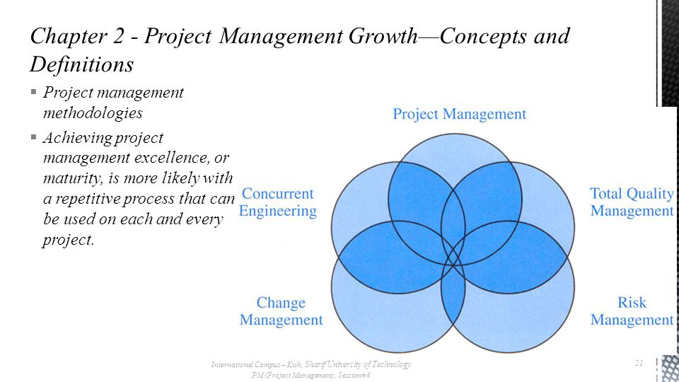  Project management methodologies  Achieving project management excellence, or maturity, is more likely with a repetitive process that can be used on each and every project.