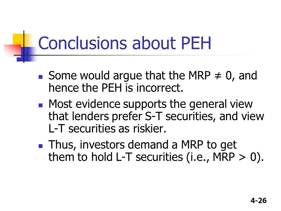 4-26 Conclusions about PEH Some would argue that the MRP ≠ 0, and hence the PEH is incorrect. Most evidence supports the general view that lenders pre