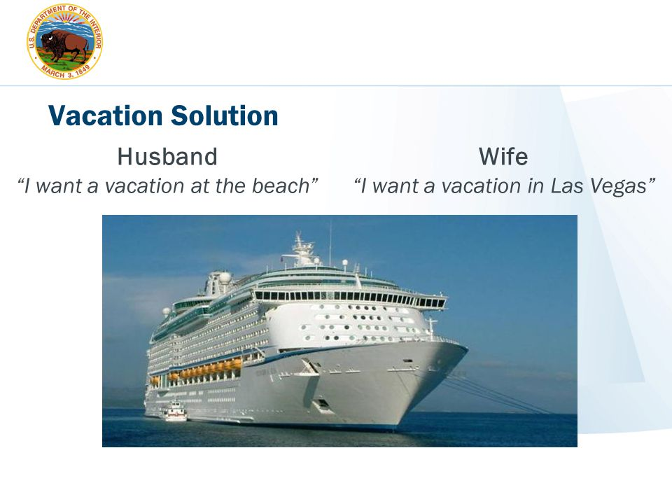 """Vacation Solution Wife """"I want a vacation in Las Vegas"""" Husband """"I want a vacation at the beach"""""""