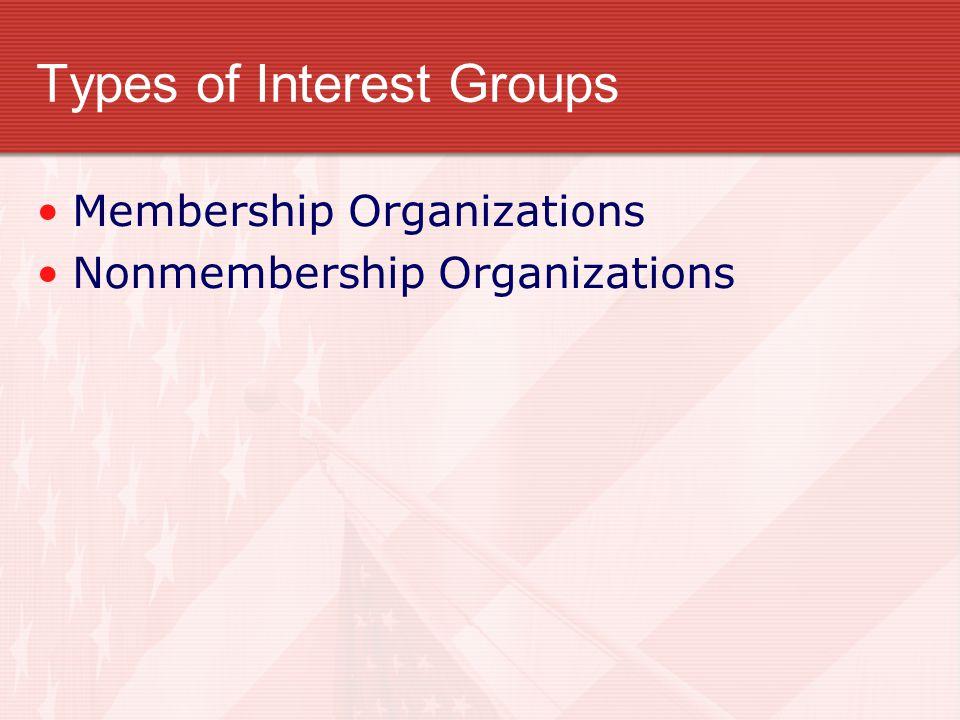 Types of Interest Groups Membership Organizations Nonmembership Organizations