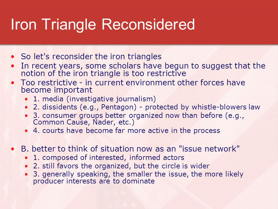 Iron Triangle Reconsidered So let's reconsider the iron triangles In recent years, some scholars have begun to suggest that the notion of the iron tri