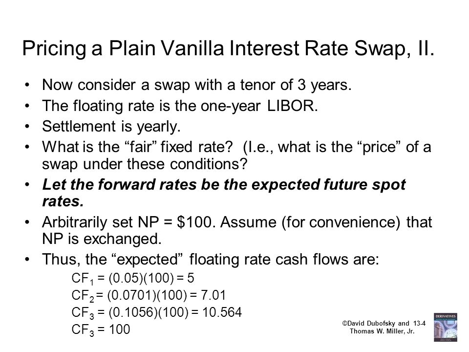 ©David Dubofsky and 13-4 Thomas W. Miller, Jr. Pricing a Plain Vanilla Interest Rate Swap, II. Now consider a swap with a tenor of 3 years. The floati