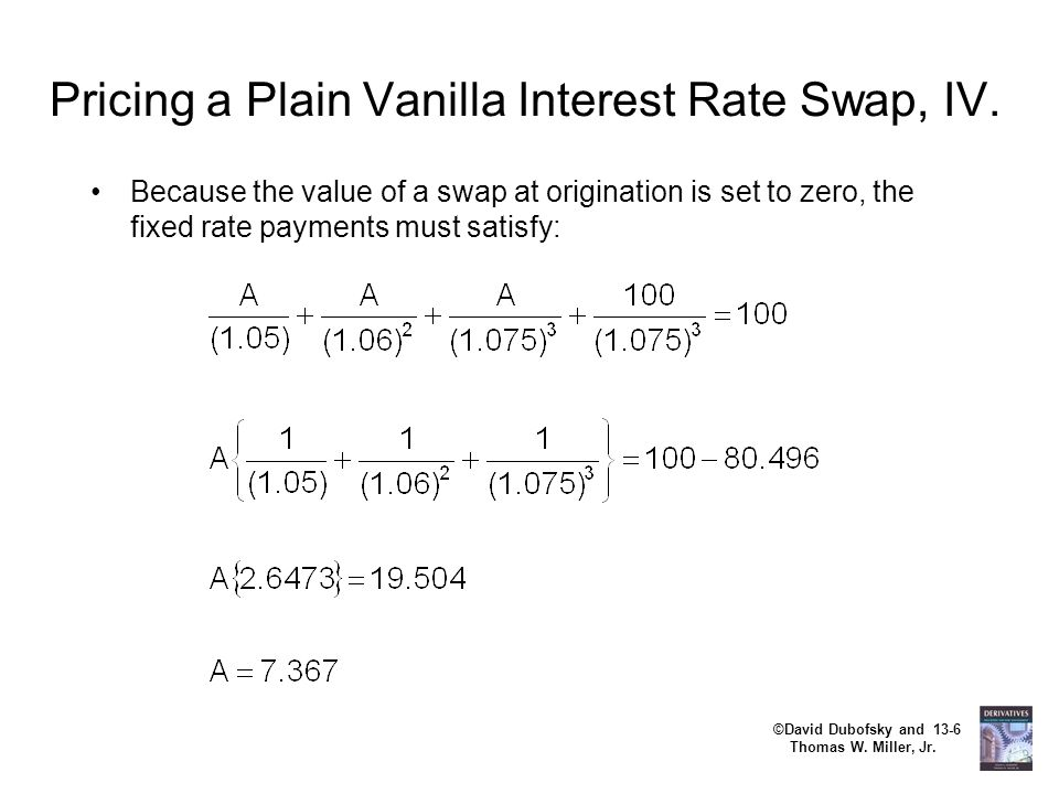 ©David Dubofsky and 13-6 Thomas W. Miller, Jr. Pricing a Plain Vanilla Interest Rate Swap, IV. Because the value of a swap at origination is set to ze