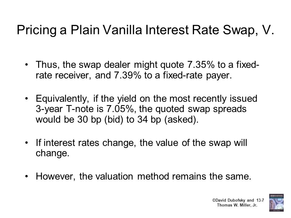 ©David Dubofsky and 13-7 Thomas W. Miller, Jr. Pricing a Plain Vanilla Interest Rate Swap, V. Thus, the swap dealer might quote 7.35% to a fixed- rate