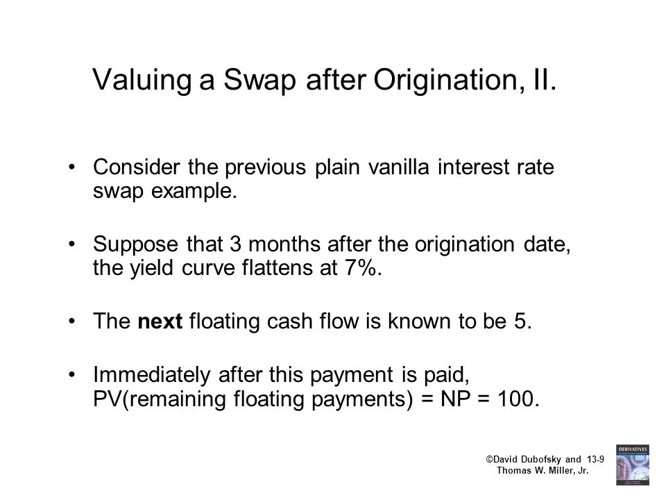 ©David Dubofsky and 13-9 Thomas W. Miller, Jr. Valuing a Swap after Origination, II. Consider the previous plain vanilla interest rate swap example. S