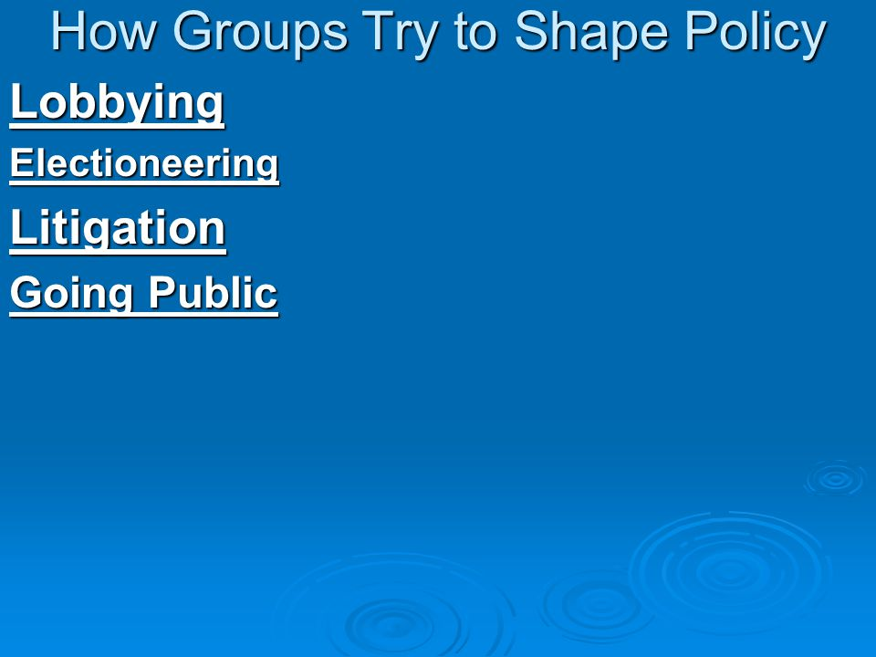 How Groups Try to Shape Policy LobbyingElectioneeringLitigation Going Public