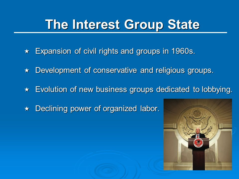 The Interest Group State  Expansion of civil rights and groups in 1960s.  Development of conservative and religious groups.  Evolution of new busin