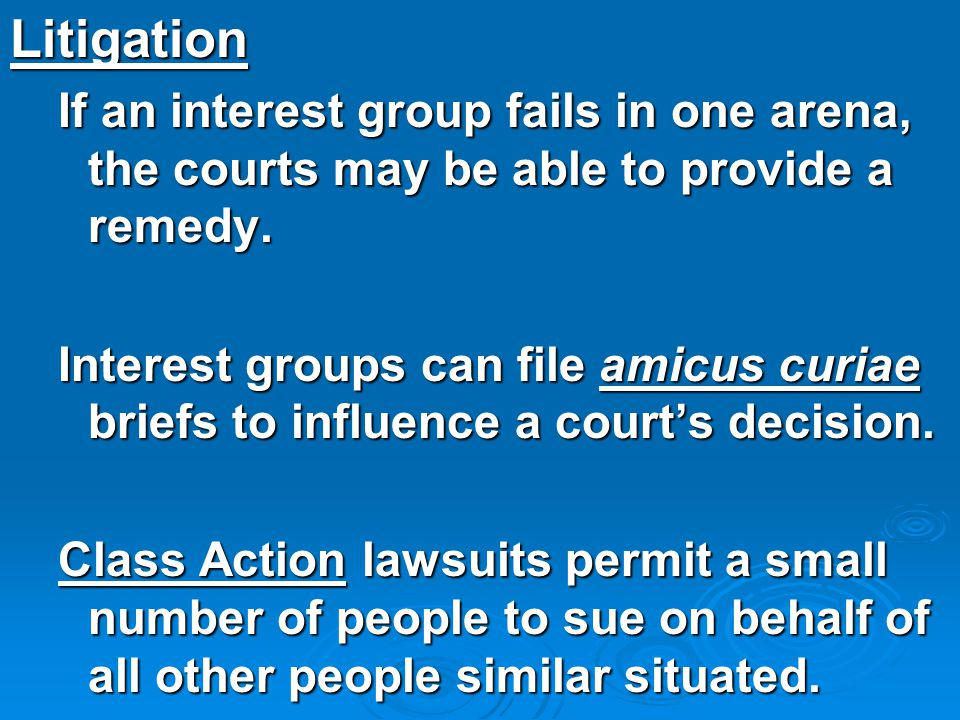 Litigation If an interest group fails in one arena, the courts may be able to provide a remedy. Interest groups can file amicus curiae briefs to influ