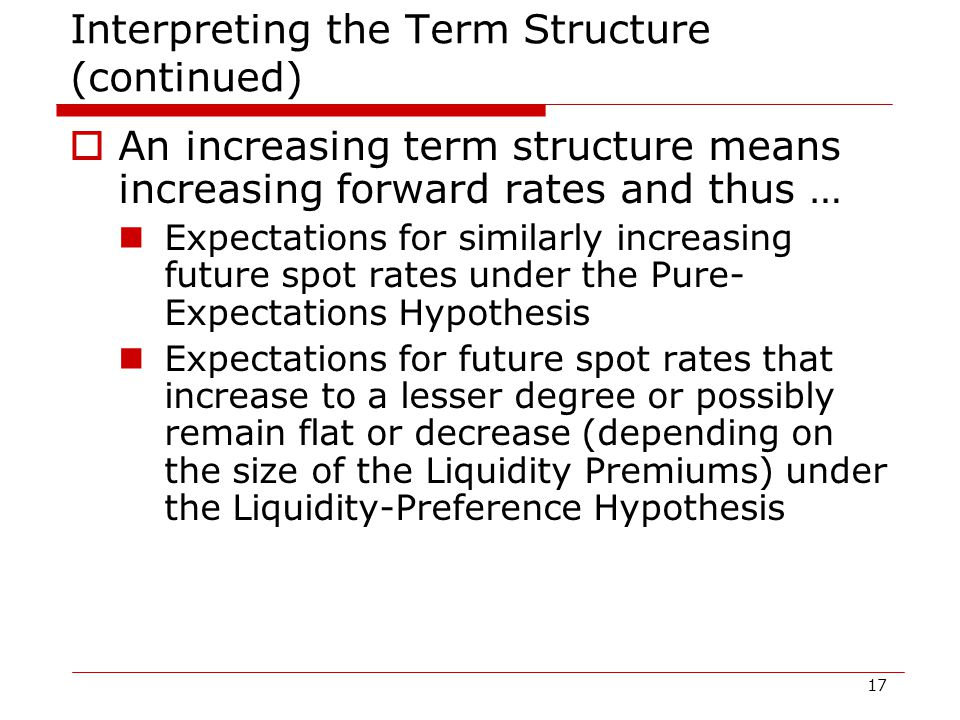 17 Interpreting the Term Structure (continued)  An increasing term structure means increasing forward rates and thus … Expectations for similarly increasing future spot rates under the Pure- Expectations Hypothesis Expectations for future spot rates that increase to a lesser degree or possibly remain flat or decrease (depending on the size of the Liquidity Premiums) under the Liquidity-Preference Hypothesis