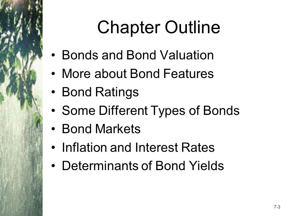 Bond Definitions Bond Par value (face value) Coupon rate Coupon payment Maturity date Yield or Yield to maturity 7-4