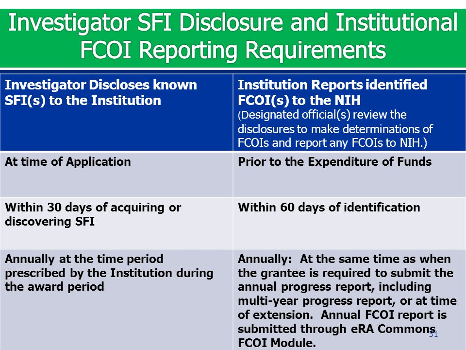 Investigator Discloses known SFI(s) to the Institution Institution Reports identified FCOI(s) to the NIH (D esignated official(s) review the disclosur