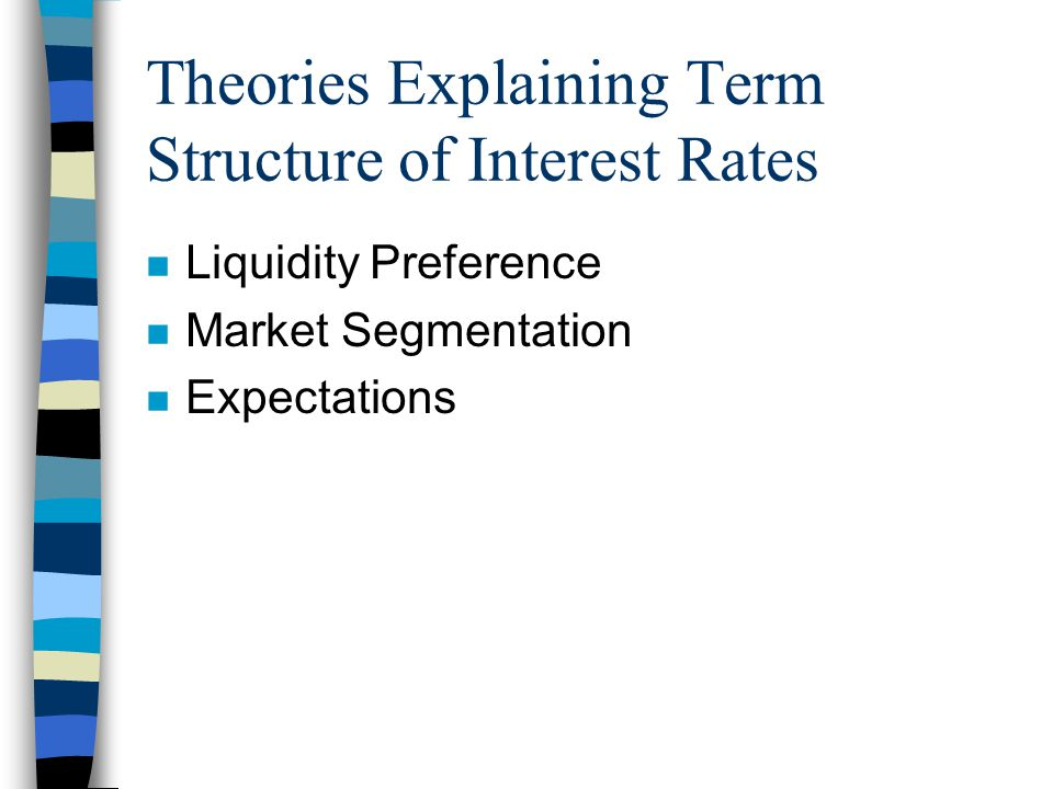 Theories Explaining Term Structure of Interest Rates n Liquidity Preference n Market Segmentation n Expectations