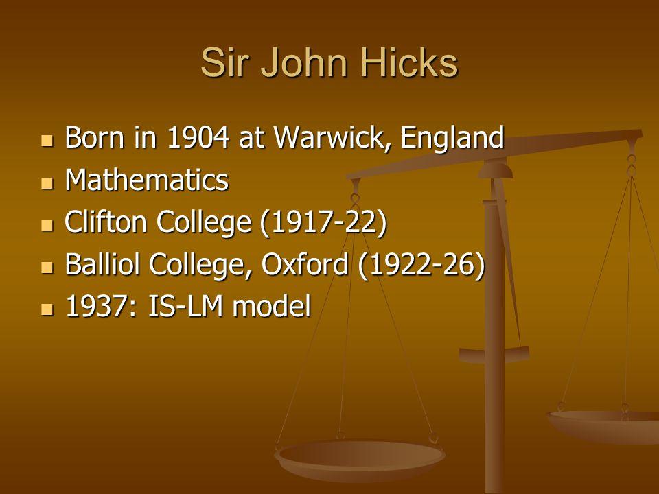 Sir John Hicks (1904 - 1989)