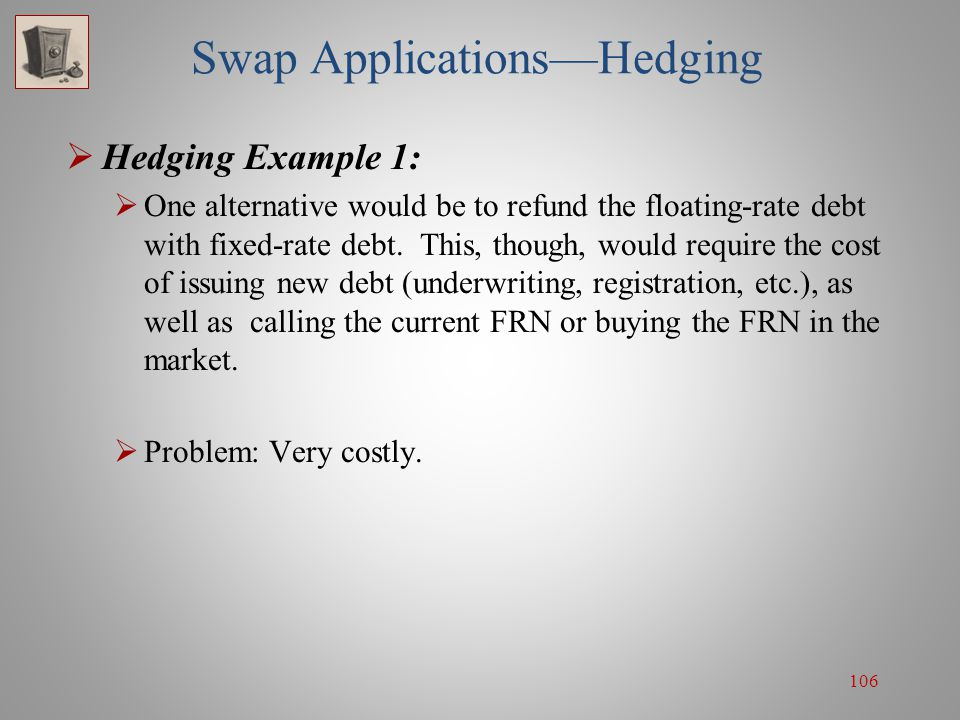 106 Swap Applications—Hedging  Hedging Example 1:  One alternative would be to refund the floating-rate debt with fixed-rate debt. This, though, wou