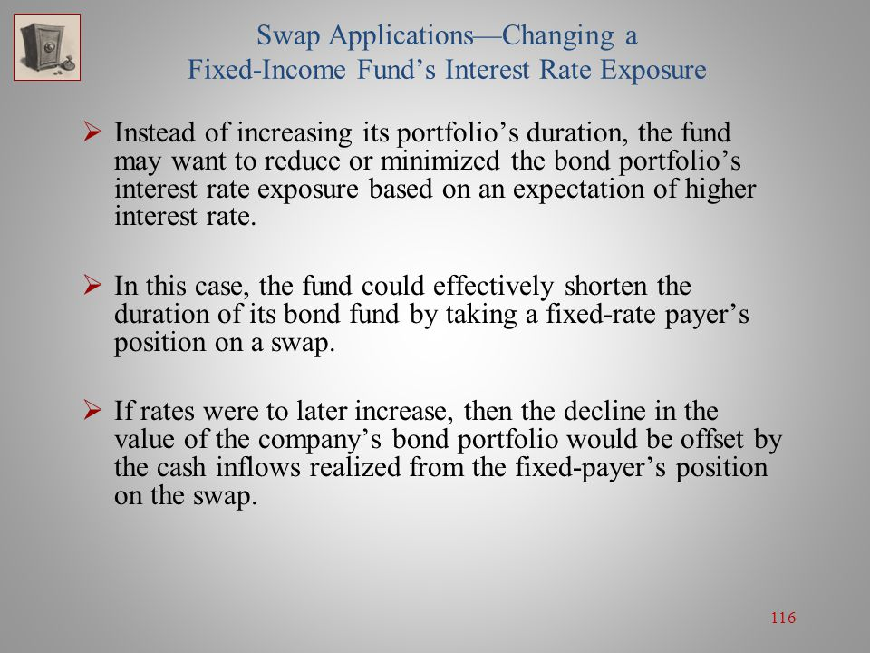 116 Swap Applications—Changing a Fixed-Income Fund's Interest Rate Exposure  Instead of increasing its portfolio's duration, the fund may want to red
