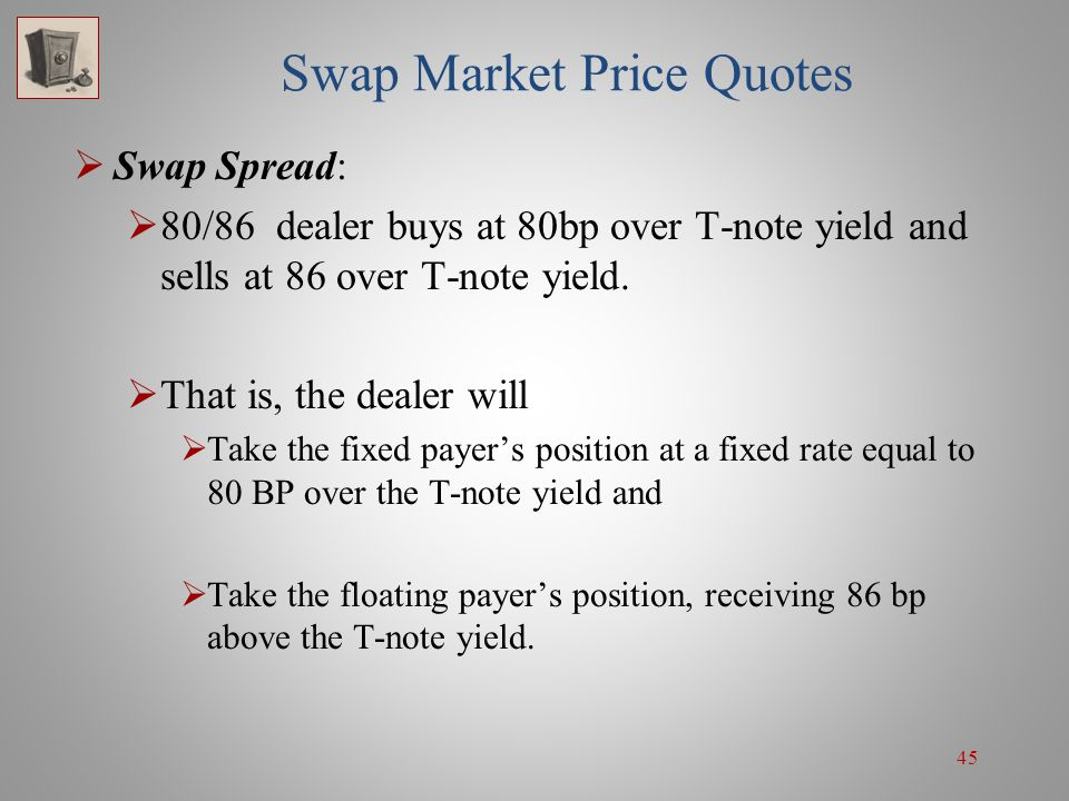 45 Swap Market Price Quotes  Swap Spread:  80/86 dealer buys at 80bp over T-note yield and sells at 86 over T-note yield.  That is, the dealer will