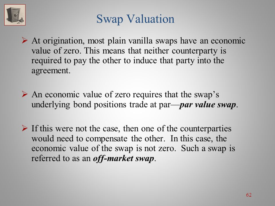 62 Swap Valuation  At origination, most plain vanilla swaps have an economic value of zero. This means that neither counterparty is required to pay t