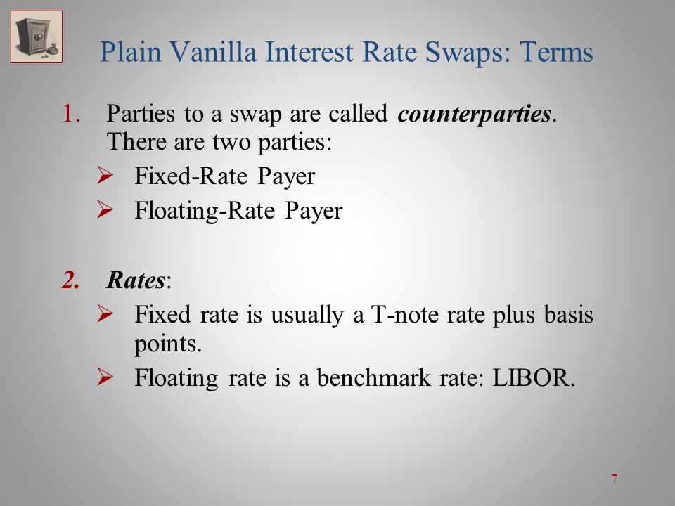 8 Plain Vanilla Interest Rate Swaps: Terms 3.Reset Frequency: Semiannual 4.Principal: No exchange of principal 5.Notional Principal (NP): Interest is applied to a notional principal; the NP is used for calculating the swap payments.