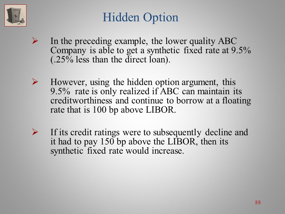 88 Hidden Option  In the preceding example, the lower quality ABC Company is able to get a synthetic fixed rate at 9.5% (.25% less than the direct lo