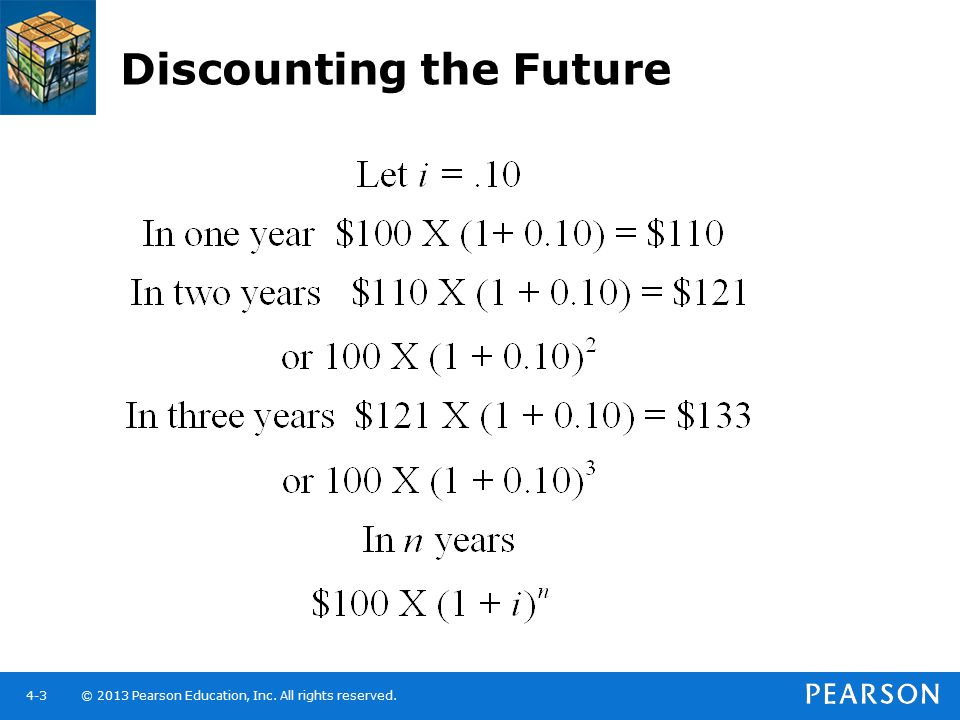 © 2013 Pearson Education, Inc. All rights reserved.4-3 Discounting the Future