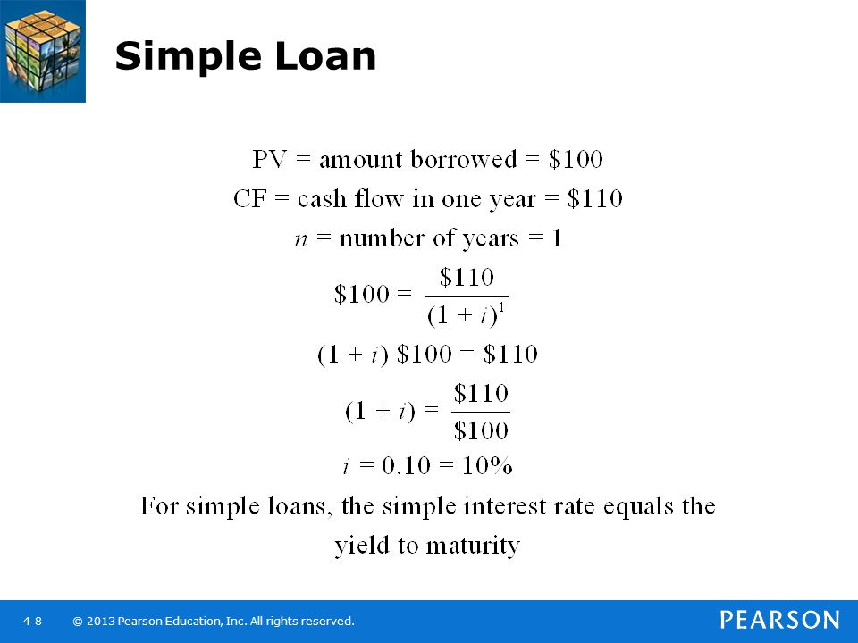 © 2013 Pearson Education, Inc. All rights reserved.4-8 Simple Loan