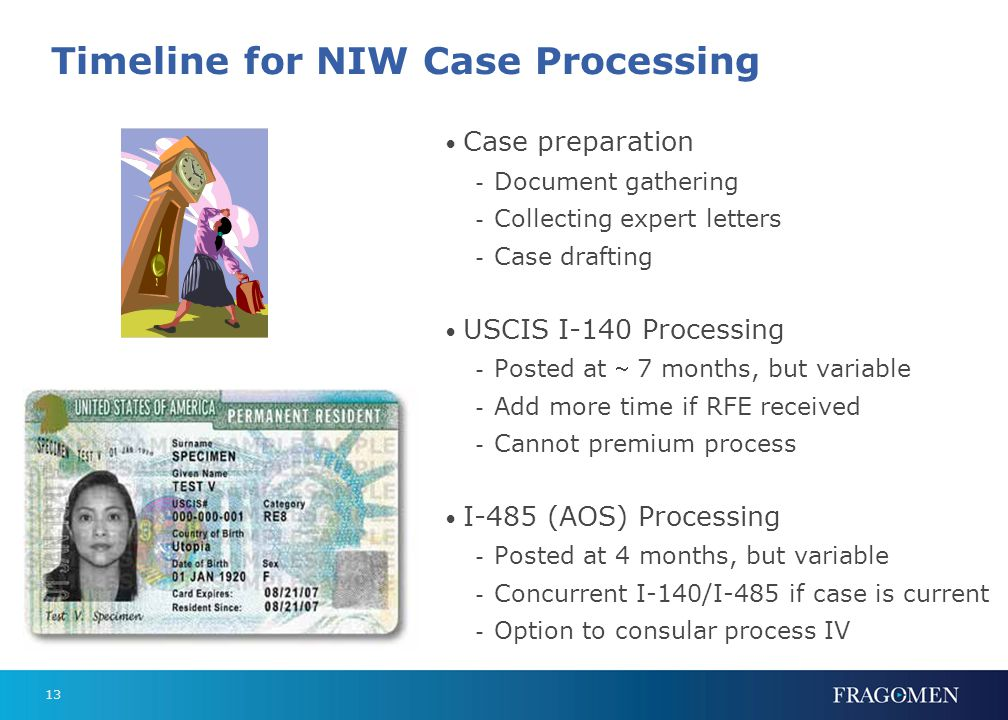 13 Timeline for NIW Case Processing Case preparation - Document gathering - Collecting expert letters - Case drafting USCIS I-140 Processing - Posted at  7 months, but variable - Add more time if RFE received - Cannot premium process I-485 (AOS) Processing - Posted at 4 months, but variable - Concurrent I-140/I-485 if case is current - Option to consular process IV