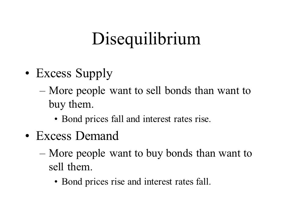 Disequilibrium Excess Supply –More people want to sell bonds than want to buy them. Bond prices fall and interest rates rise. Excess Demand –More peop