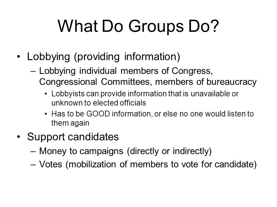 What Do Groups Do.