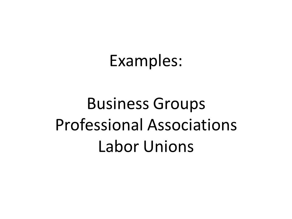 Examples: Business Groups Professional Associations Labor Unions
