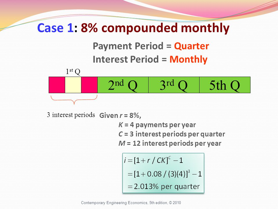 Contemporary Engineering Economics, 5th edition, © 2010 Case 1: 8% compounded monthly Payment Period = Quarter Interest Period = Monthly 3 interest periods Given r = 8%, K = 4 payments per year C = 3 interest periods per quarter M = 12 interest periods per year 2 nd Q3 rd Q5th Q 1 st Q