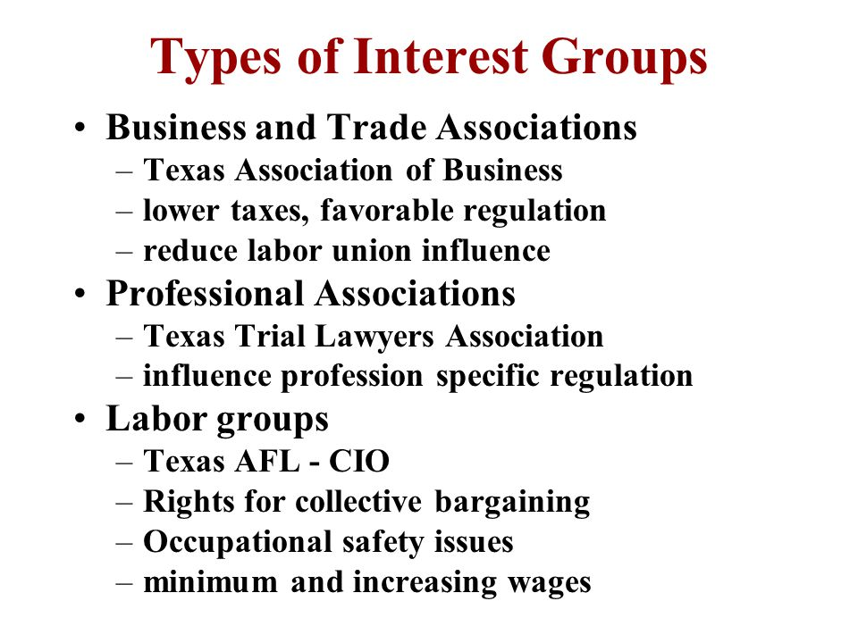 Types of Interest Groups Business and Trade Associations –Texas Association of Business –lower taxes, favorable regulation –reduce labor union influence Professional Associations –Texas Trial Lawyers Association –influence profession specific regulation Labor groups –Texas AFL - CIO –Rights for collective bargaining –Occupational safety issues –minimum and increasing wages