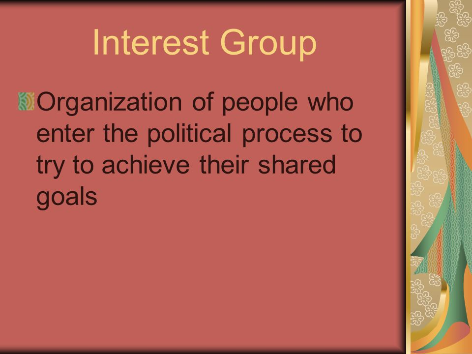 Interest Group Organization of people who enter the political process to try to achieve their shared goals