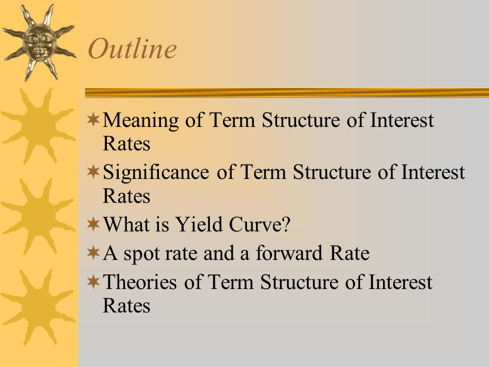 Outline  Meaning of Term Structure of Interest Rates  Significance of Term Structure of Interest Rates  What is Yield Curve.
